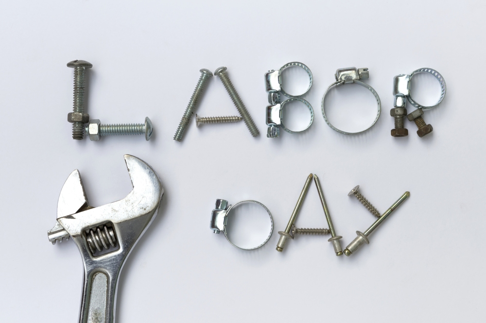 Labor day sign idea on white background