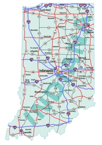 Indiana State Interstate Map