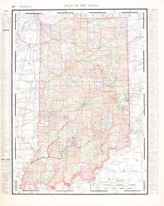 Antique Vintage Color Map of Indiana, USA