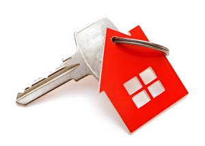 House shaped keychain isolated on white background