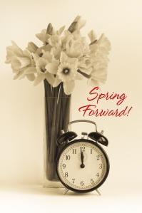 Vintage clock, daffodils, dst.