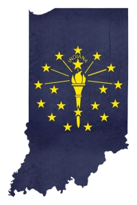 Grunge state of Indiana flag map