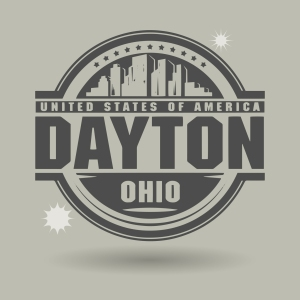 Stamp or label with text Dayton, Ohio inside