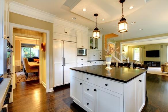 Luxury white large modern kitchen.