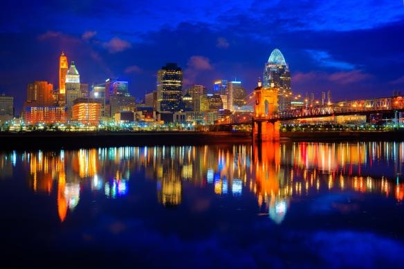 Cincinnati Ohio at Sunrise Reflected in the Ohio River