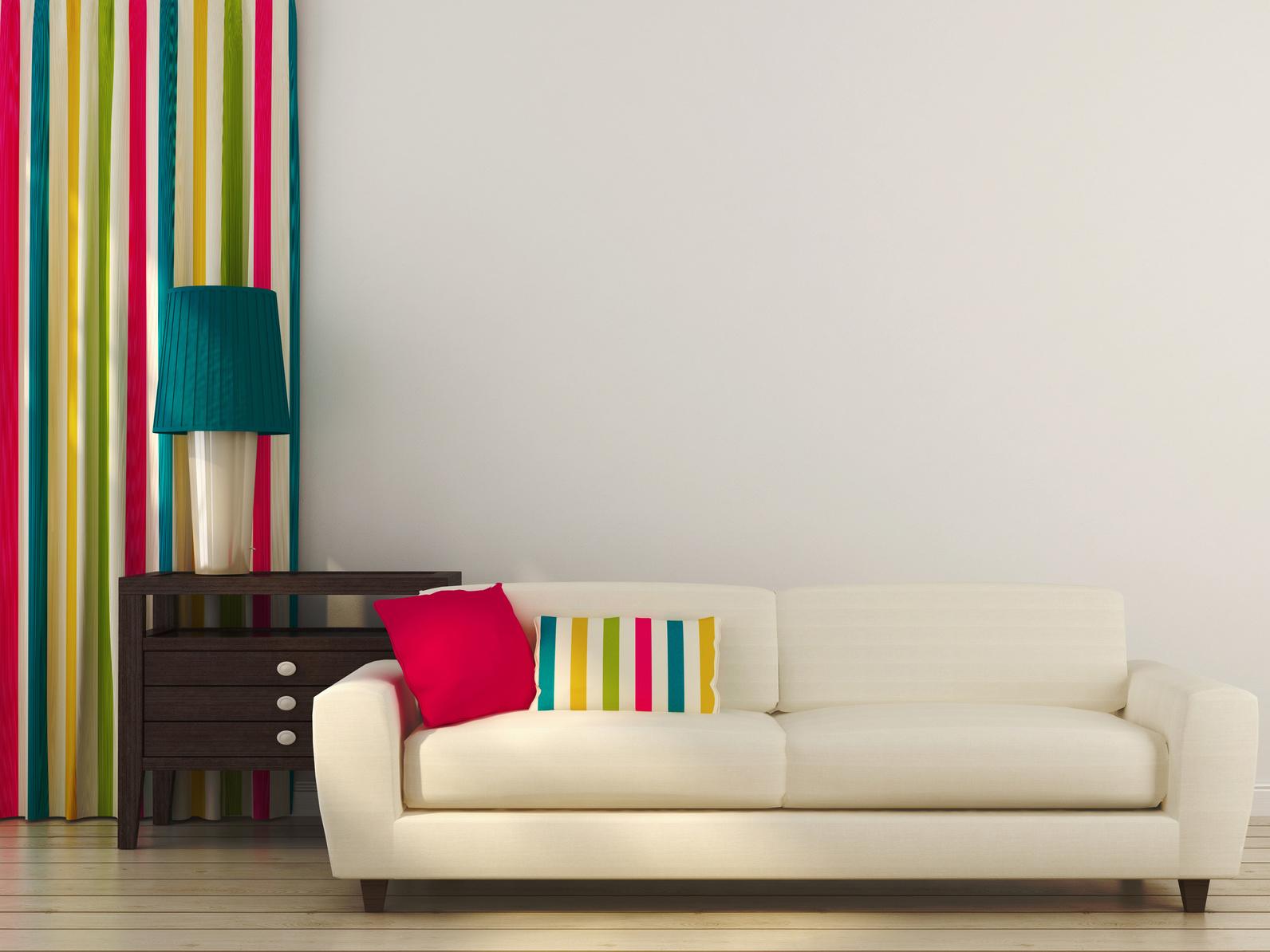 White sofa with colorful decor