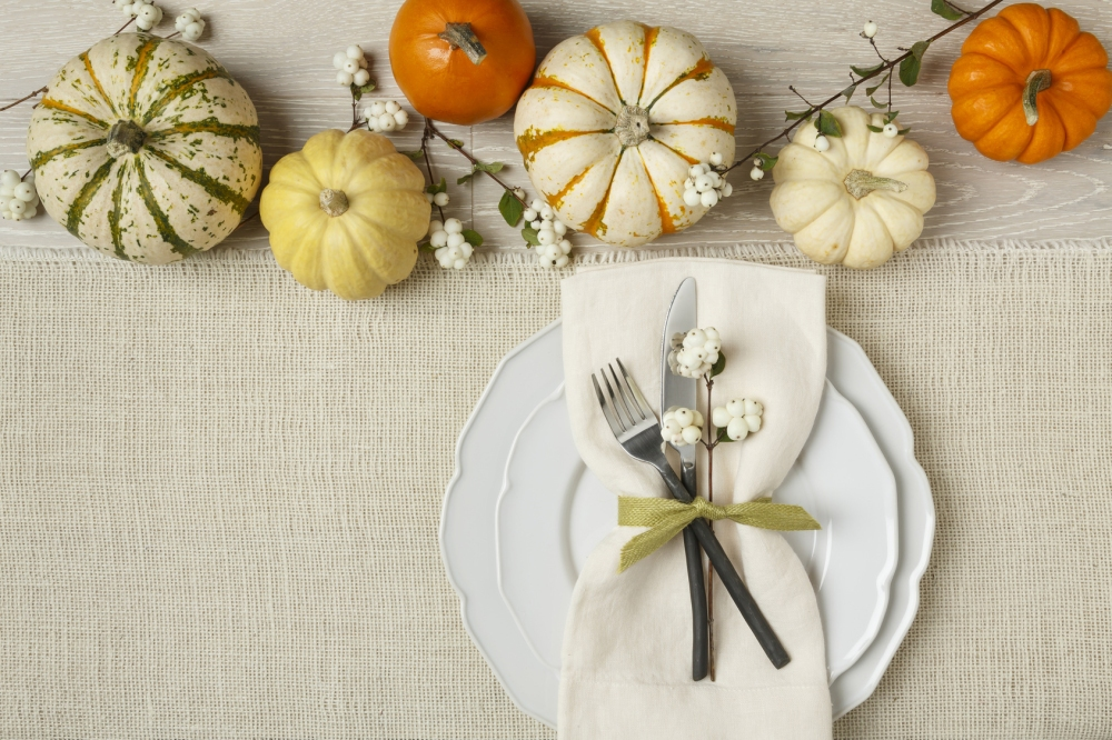 Fall autumn festive table setting place setting with pumpkins, p