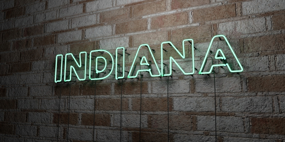 INDIANA - Glowing Neon Sign on stonework wall - 3D rendered royalty free stock illustration.  Can be used for online banner ads and direct mailers.