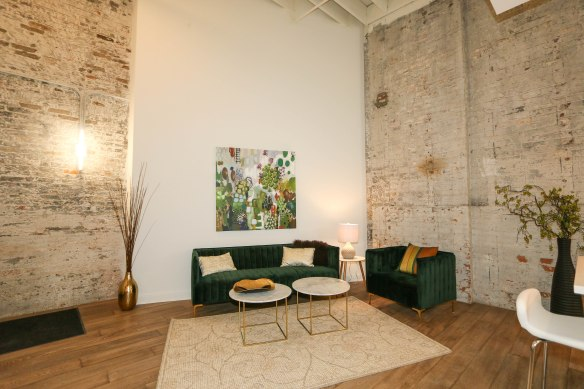 813 Broadway Living Area Exposed Brick