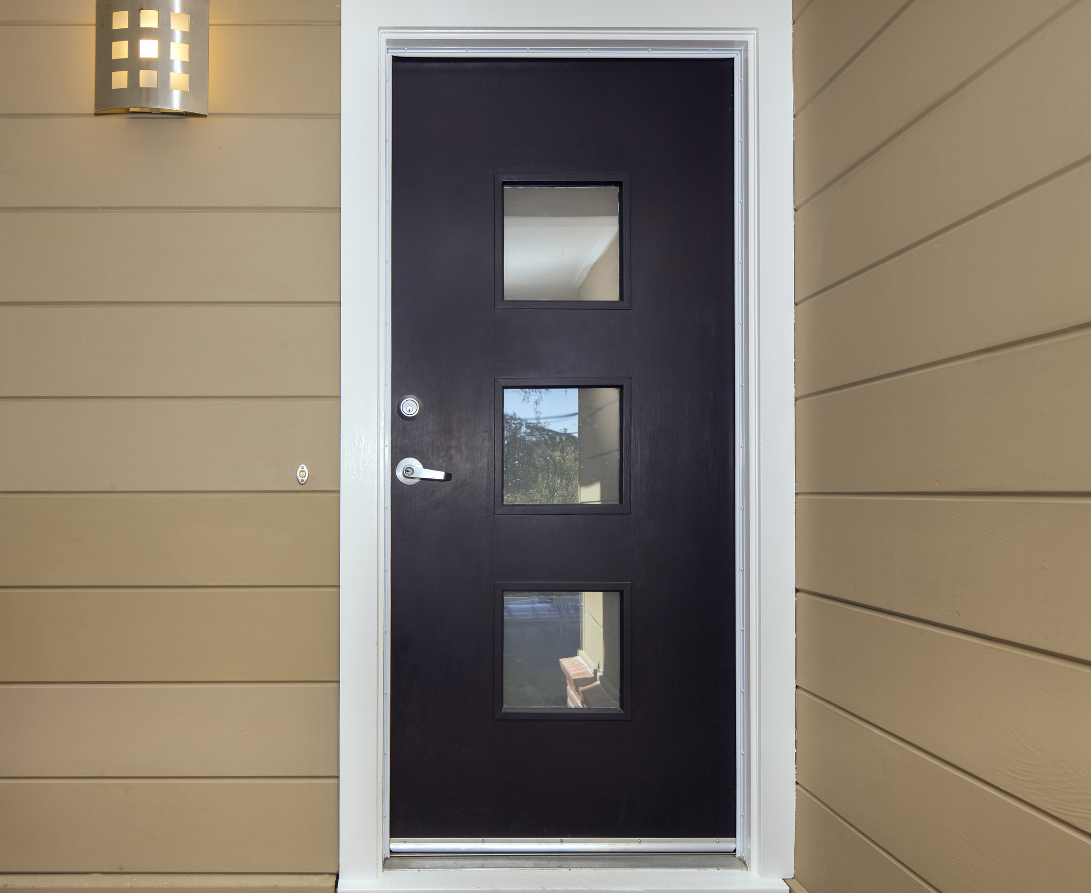 Front Door with square glass windows. & Paint Your Front Door Black? Statistics Say Yes! | Sibcy Cline Blog